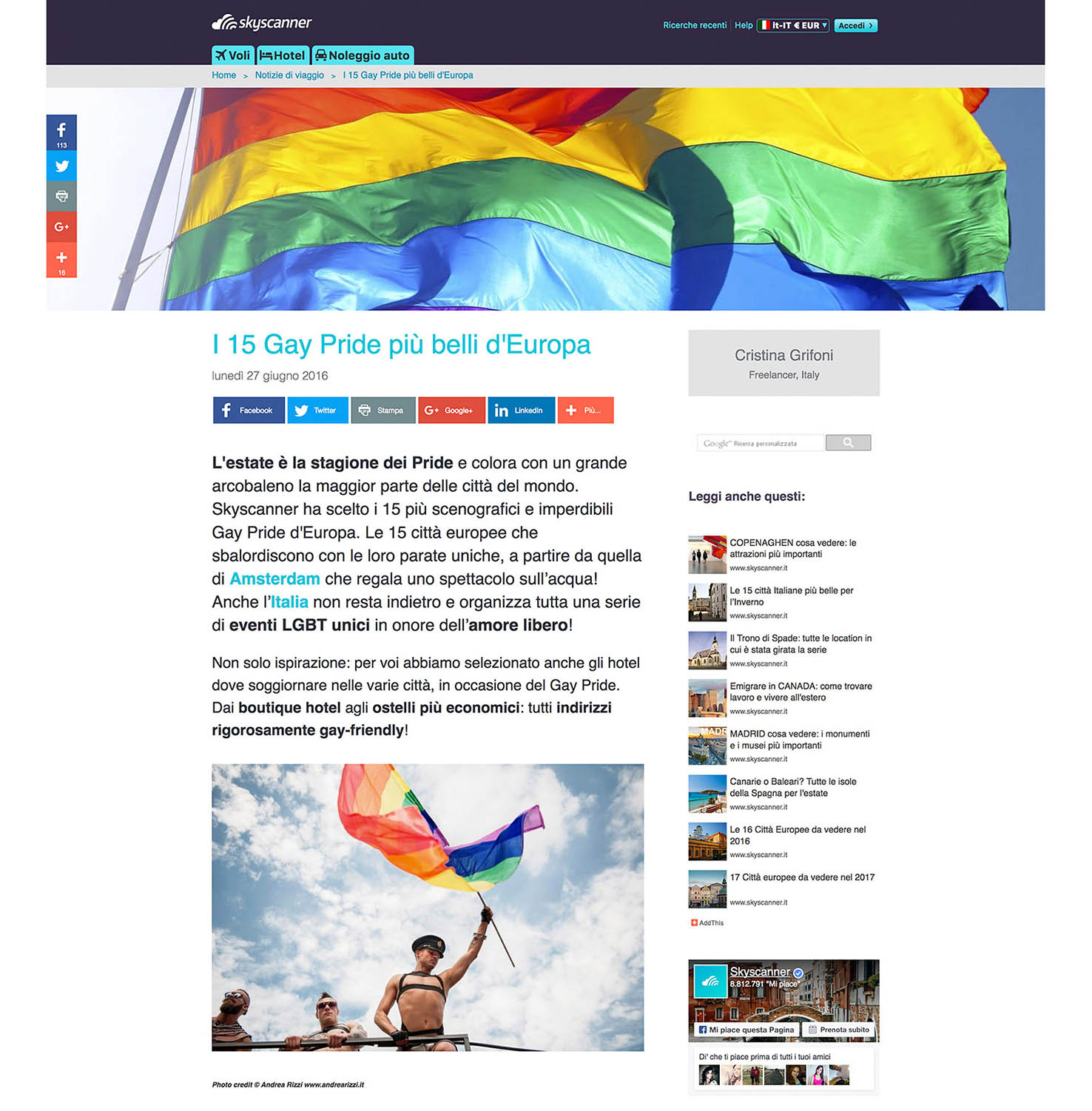 Andrea Rizzi Skyscanner Gay Pride
